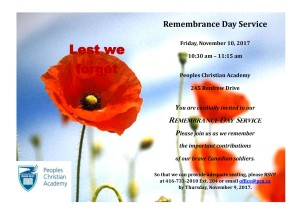 Remembrance Day Flyer Invitation 2017