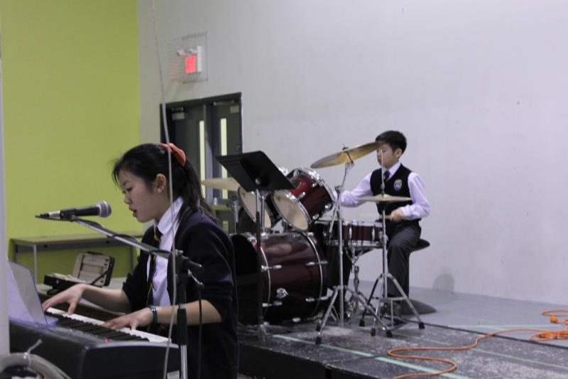Middle School playing at chapel