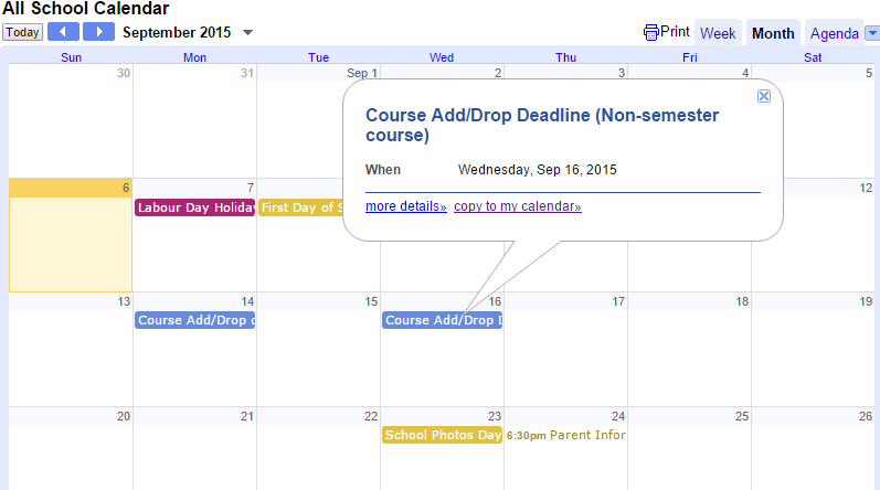 School calendar instruction