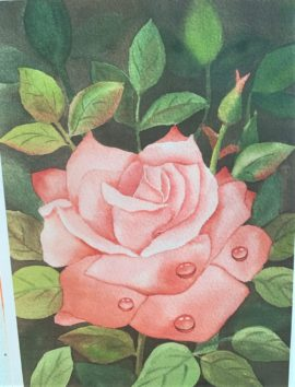 student's art painting of a rose